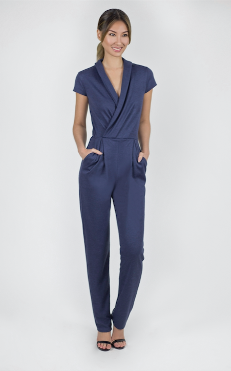 spa therapist uniform luxury jersey jumpsuit elegant and