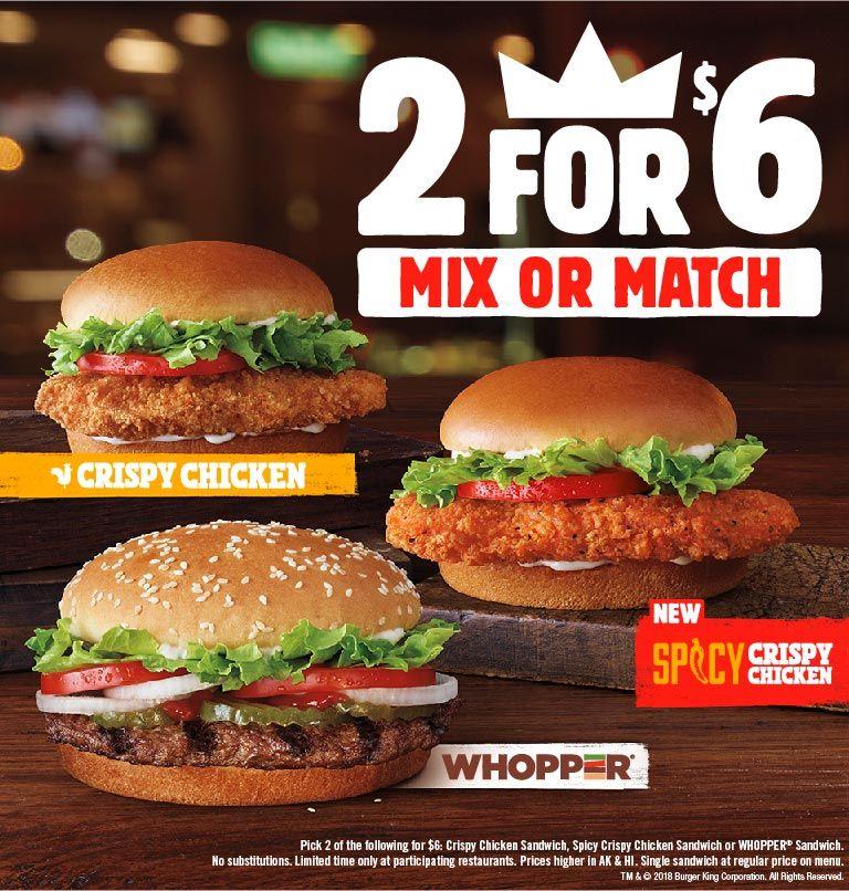 2 For 6 Crispy Chicken Whopper Or Spicy Chicken Fresh Offer Crispy Chicken Burger Chicken Burgers