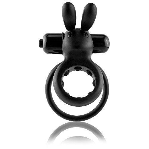 Screaming O Dehnbarer Doppelcockring mit Klitoris-Stimulation und herasnehmbarem Vibrator mit 3 Vibrationsstufen in schwarz