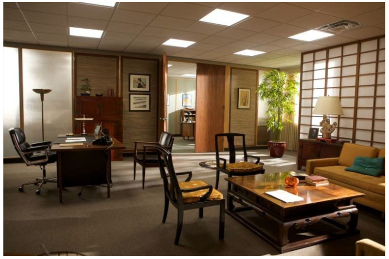 Bert coopers japanese inspired office room love the paper screen and chairs mad men