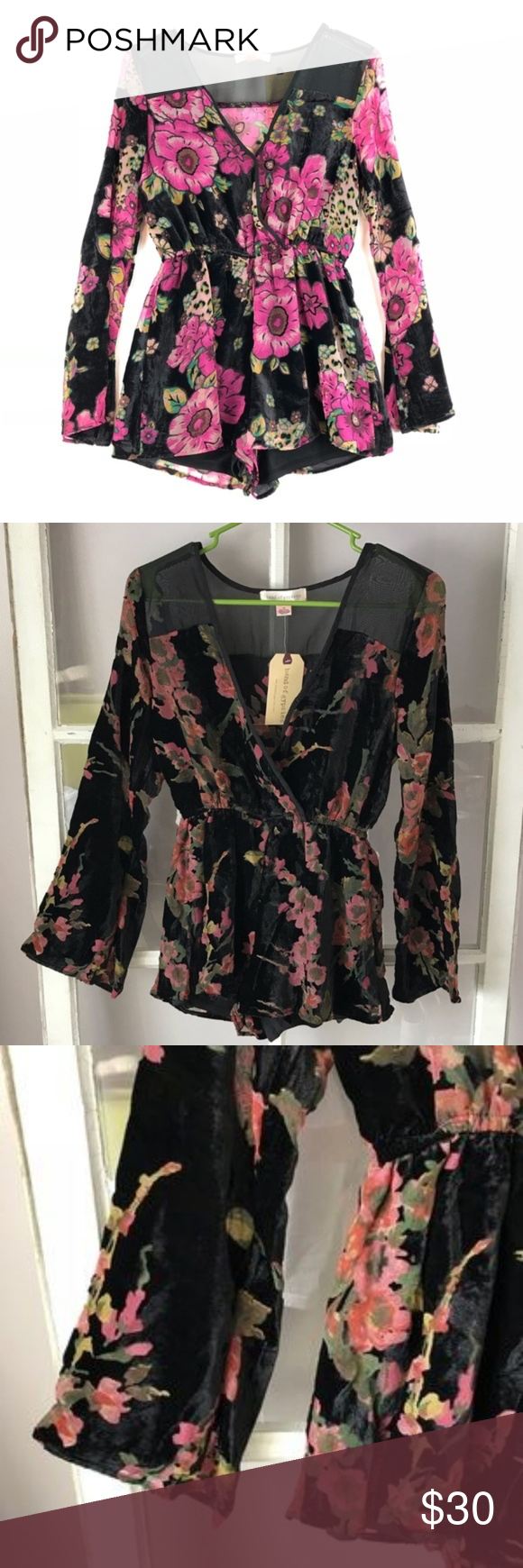 77f69afea035 Band of Gypsies Floral Velvet Romper Blk sz Sm NEW NEW Stylish long sleeve  romper with
