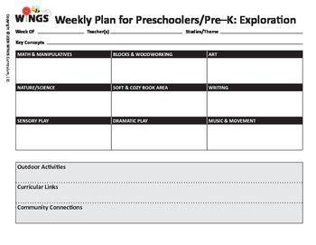 Pre K Lesson Plan Form Earlyed Pinterest Lesson Plans