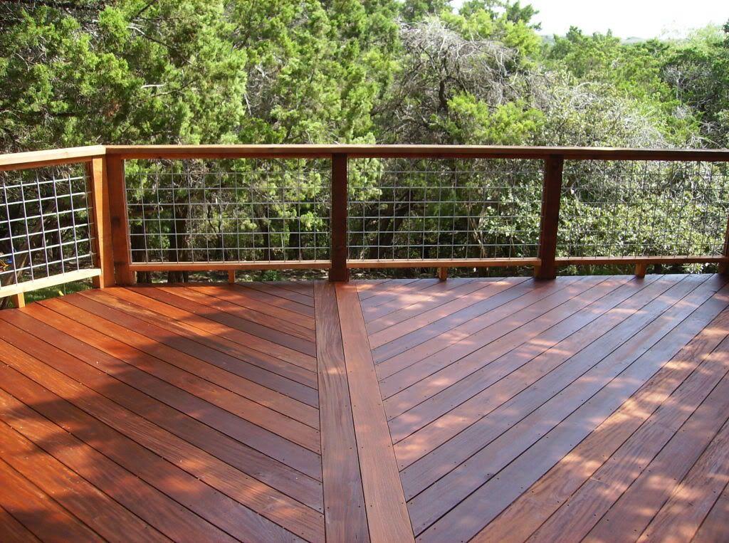Deck railing option #3: Hog Pen / bull wire Panels - follow link ...