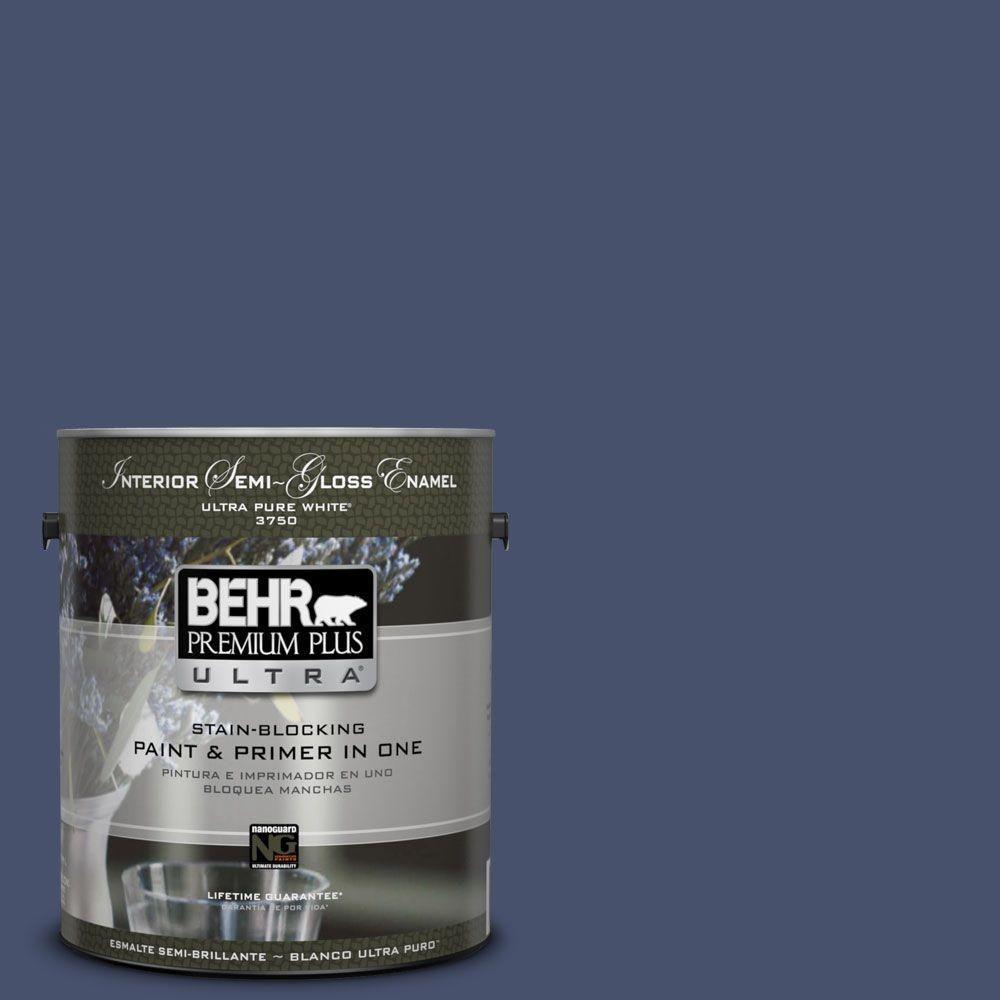BEHR Premium Plus Ultra 1 Gal. #M530 7 Elegant Navy Semi Gloss Enamel  Interior Paint