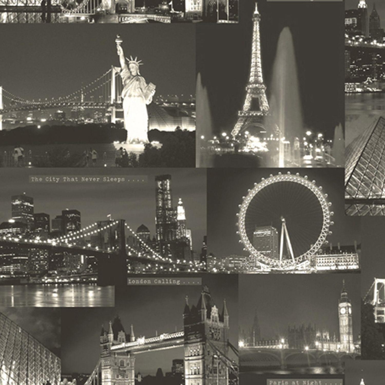 Black White Night City Wallpaper Departments Diy At B Q City Lights Wallpaper City Wallpaper Night City