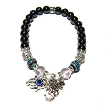 Be Protected - Ultimate Evil Protection - Hematite, Malachite, Azurite & Crystal Quartz Positive Energy Charm Bracelet | Edgy Soul