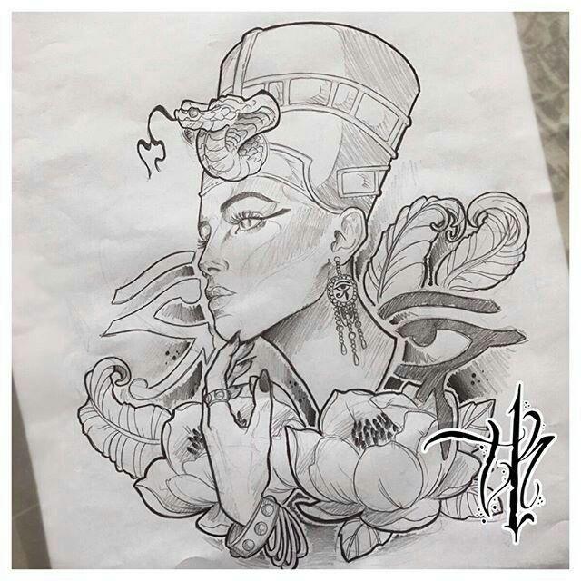 Pin by Ashley Y on tattoo | Nefertiti tattoo |Nefertiti Tattoo Drawing