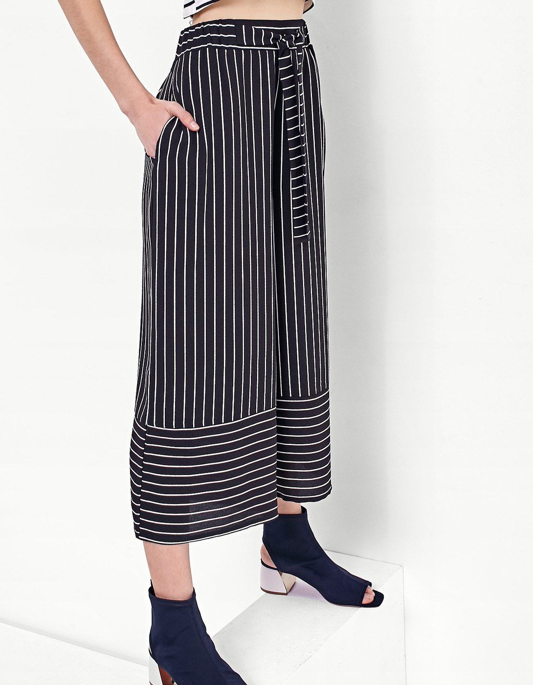 Striped Print Flowing Culottes Trousers