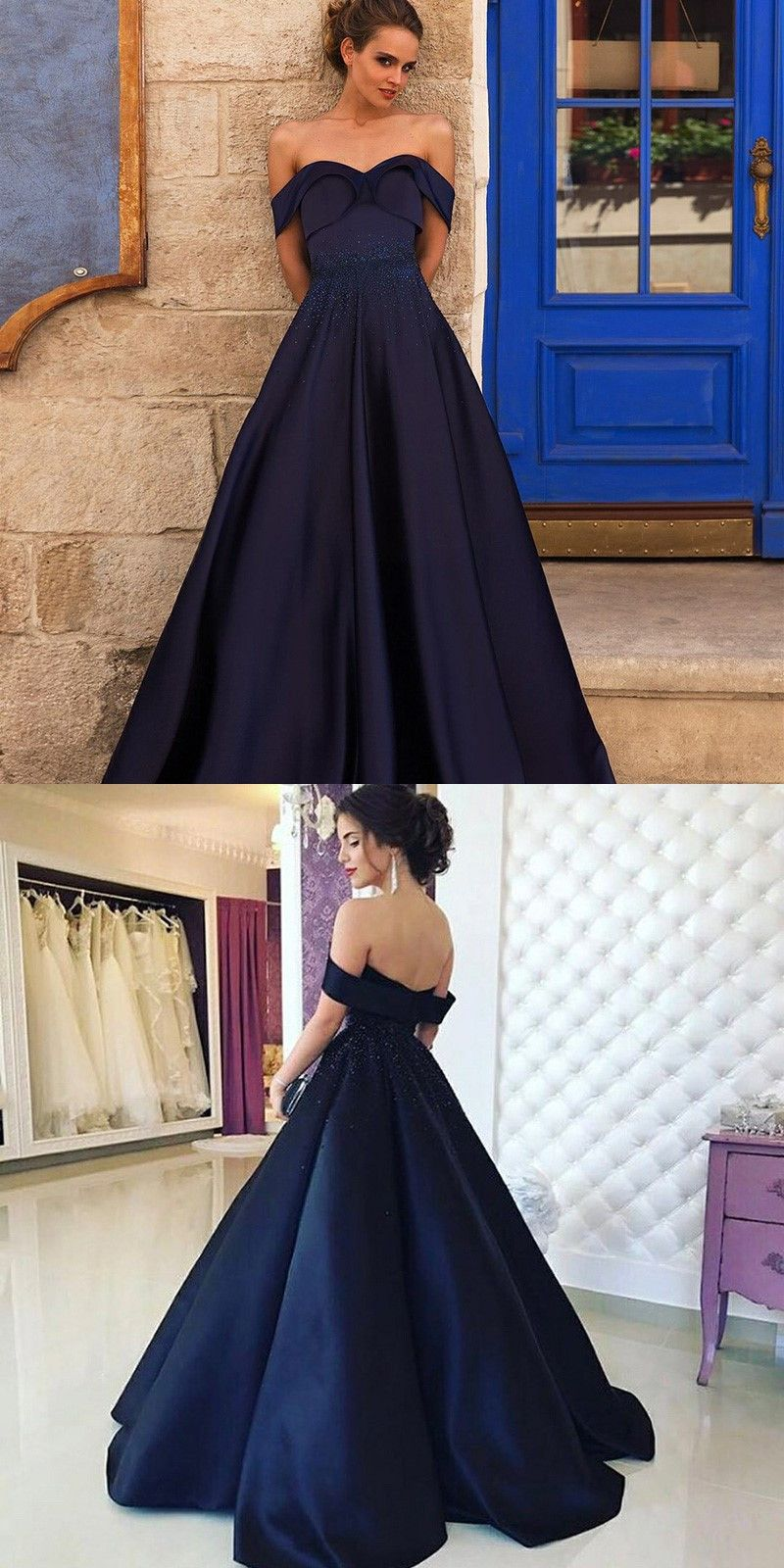 A-Line Off-the-Shoulder Navy Blue Satin Prom Dress with Beading ...
