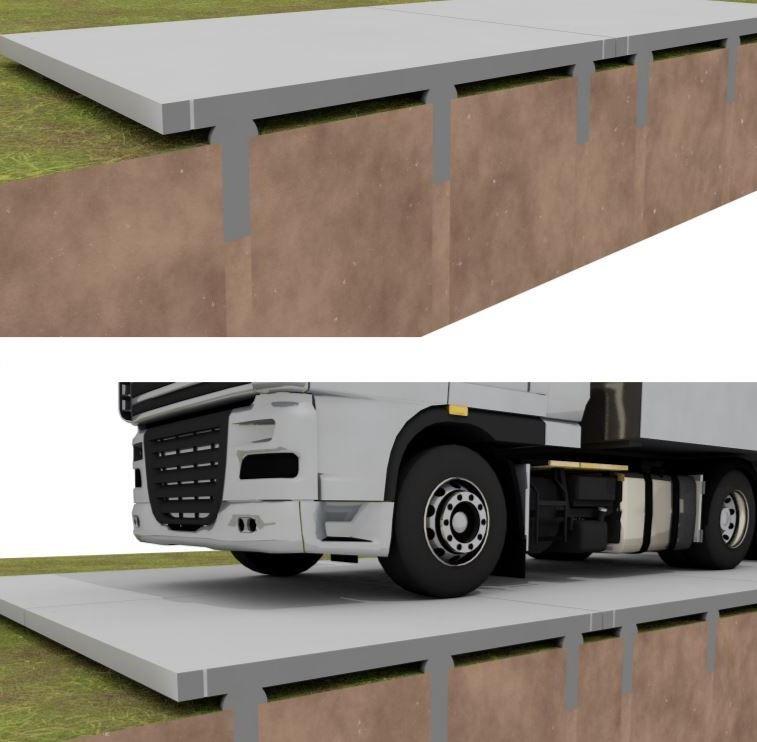 Grandes dalles finition béton désactivé, pose sur pieux en béton qui - pose dalle terrasse sur beton