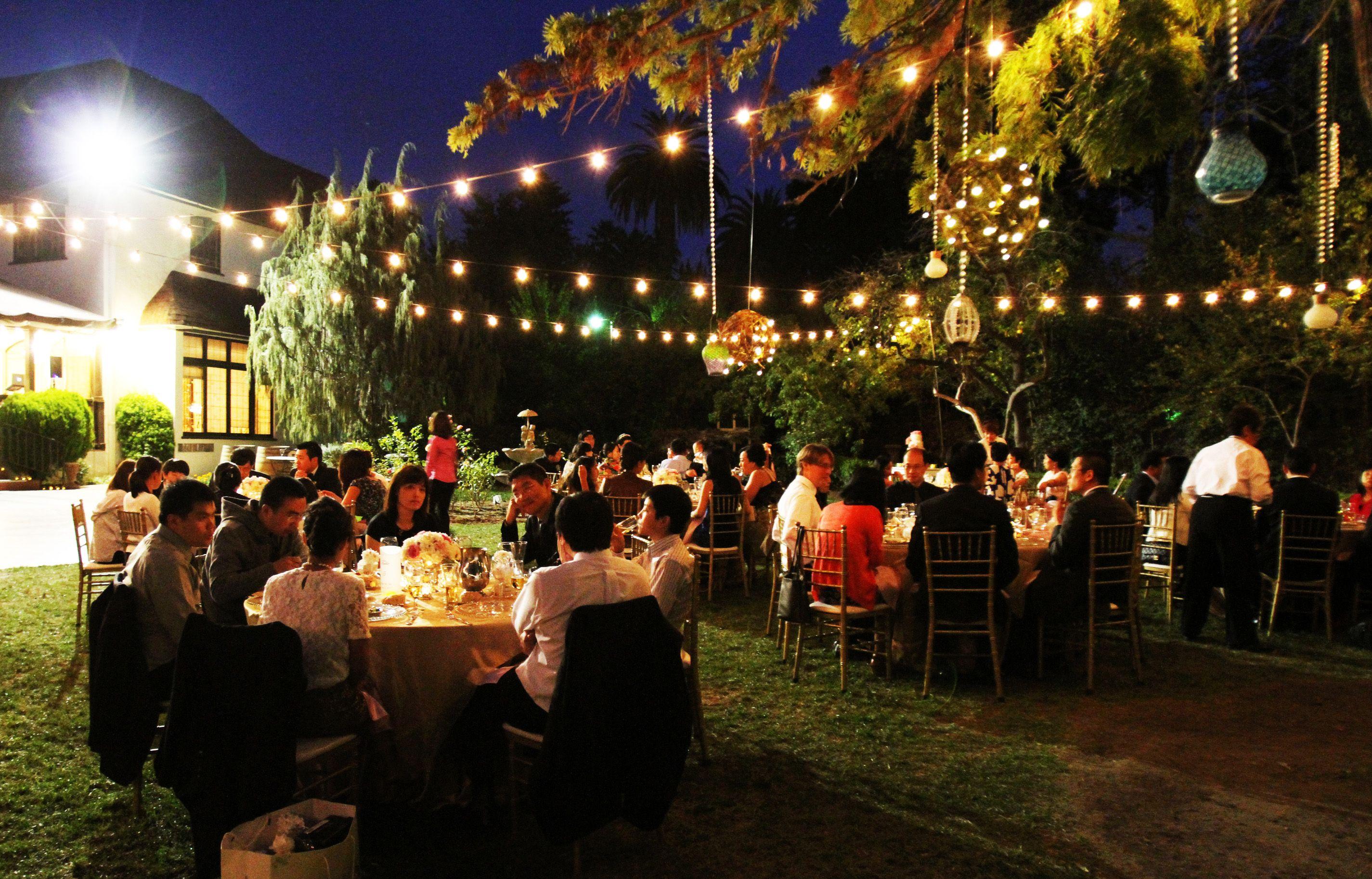outdoor wedding reception string lights bistro lights hanging