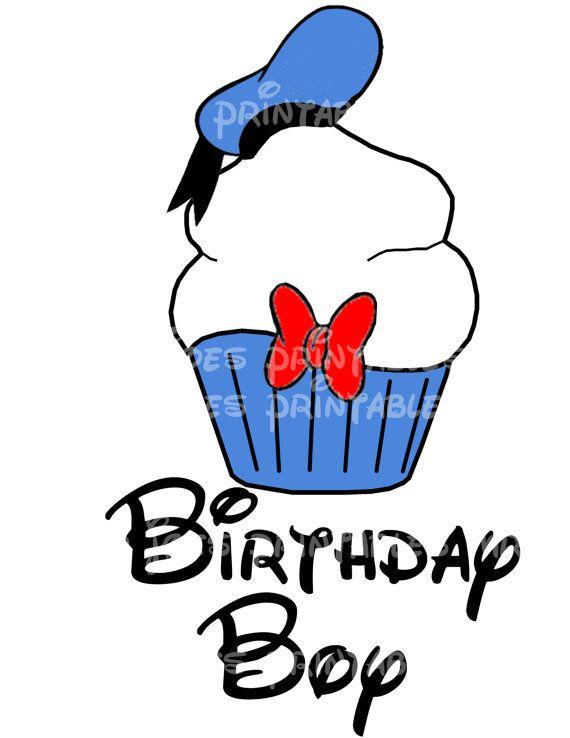 Donald Duck Cupcake Printable Birthday Boy DIY by mrjoesprintables – Donald Duck Birthday Card