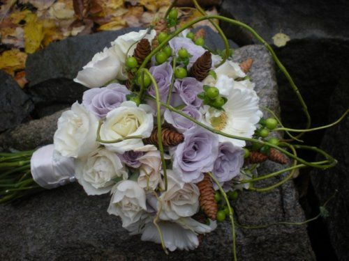Purple, white and green Flowers bridal bouquet design by Julie Floyd of Creative Gardens, Lee, NH www.creativegardensnh.com