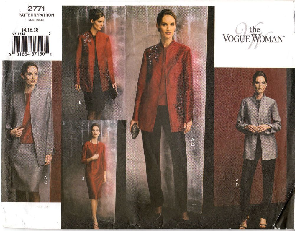 VOGUE Jacket Top Dress Skirt Pants Loose Fit Sewing Pattern 2771 Sz 14-18 Uncut  #Vogue #wardrobe