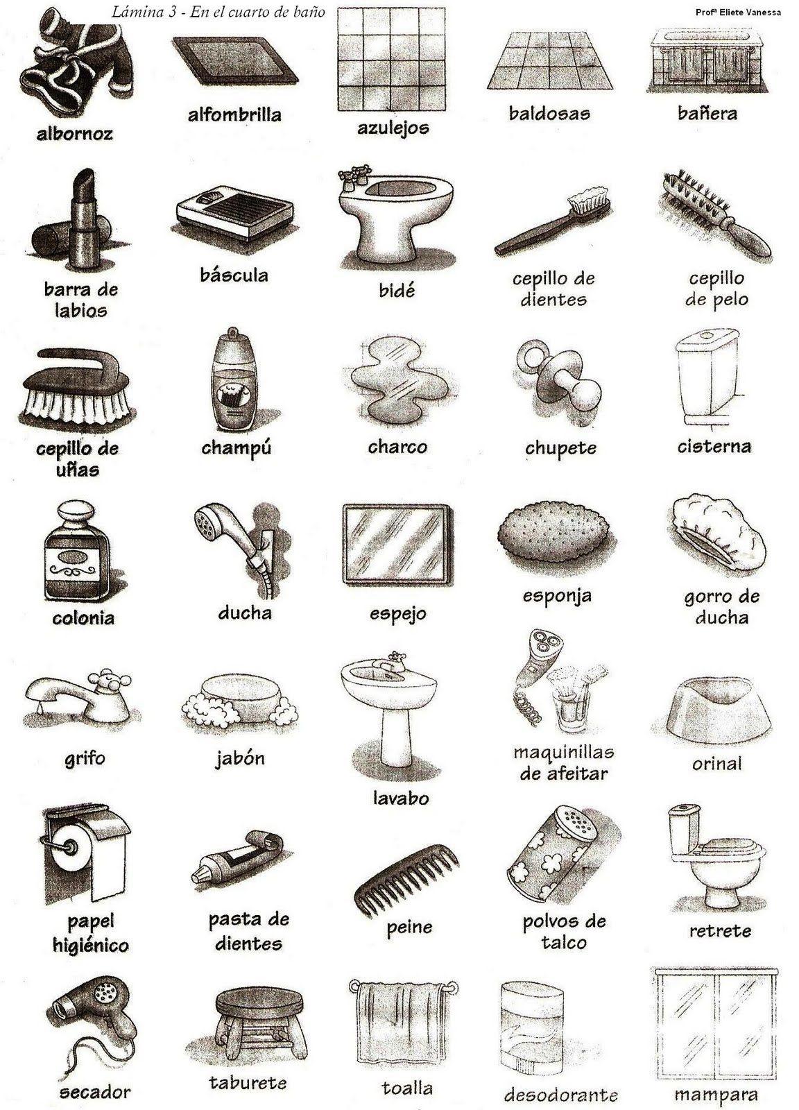 El cuarto de ba o spanish vocabulary for bathroom spanish - Cuarto de bano com ...