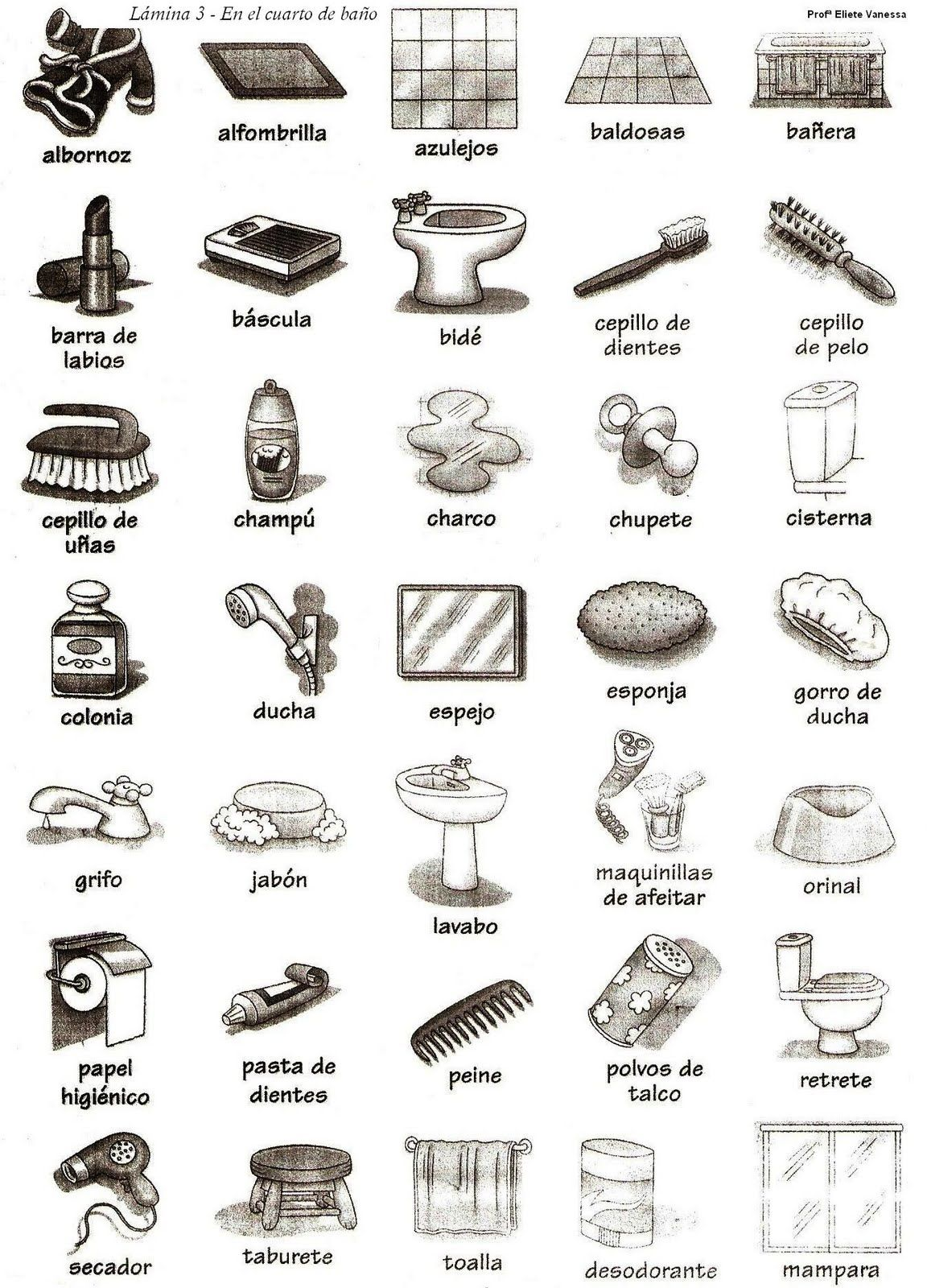 El Cuarto De Bano Spanish Vocabulary For Bathroom Spanish Languages