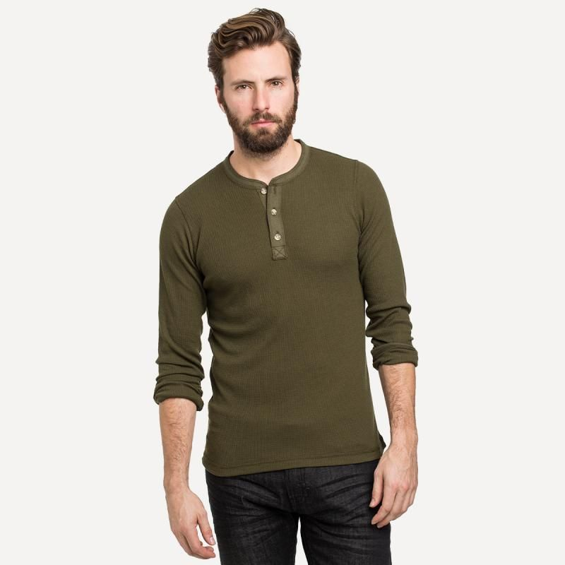 69bf7f963 Thermal Henley in Army Green | Frank & Oak ($20.00) | Long Sleeve ...