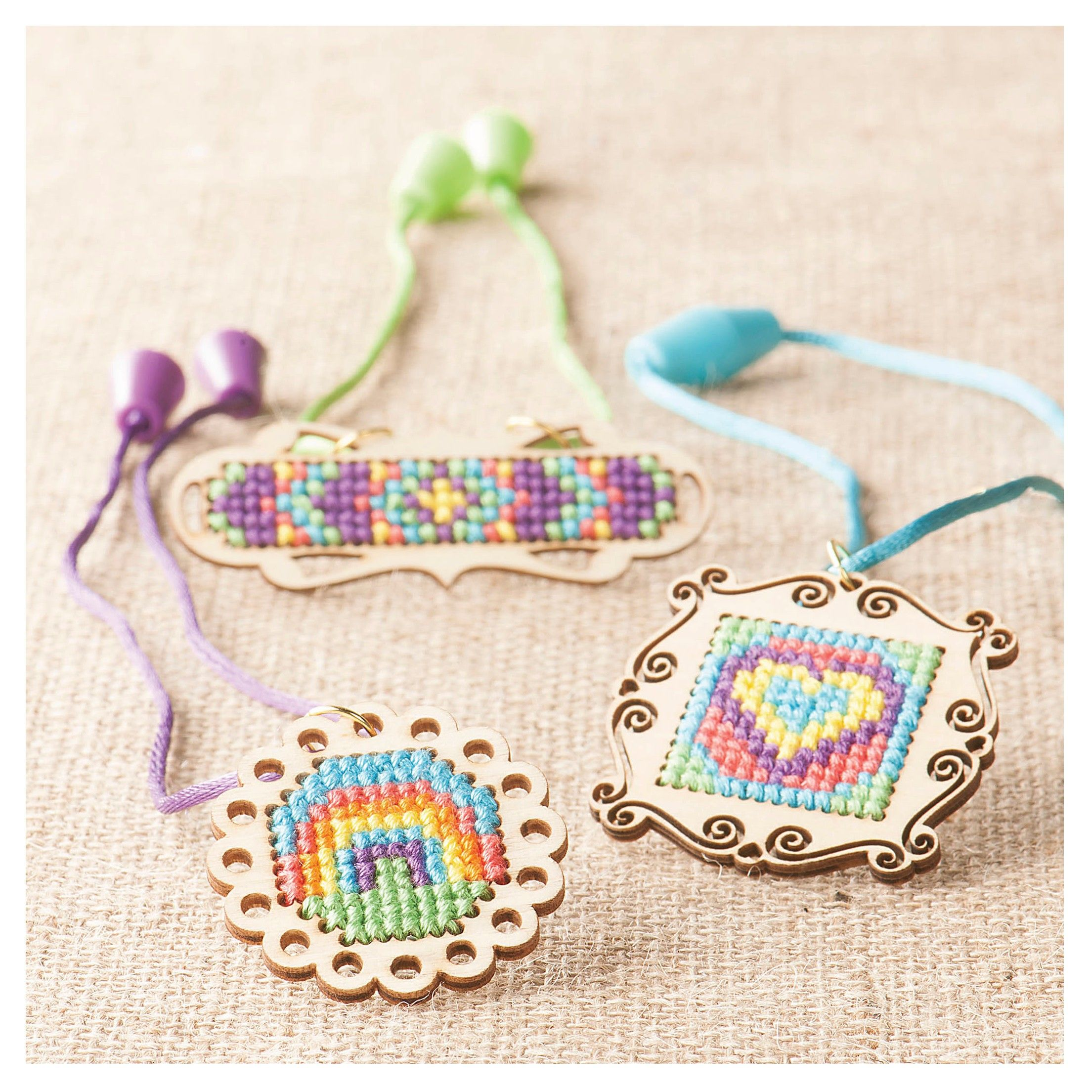 Craftabelle Cross-Stitch Pendant Craft Kit, target link doesn't seem to work, but these are cute.