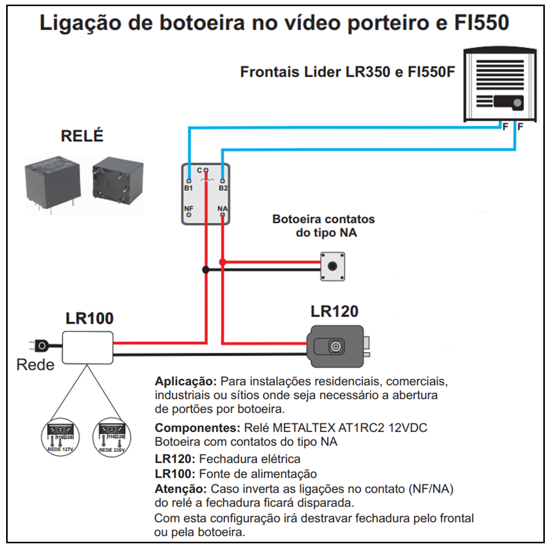 Ligao De Botoeira No Vdeo Porteiro Fi550 Lider Eletrnica Doorphone Intercom By Ic Lm386