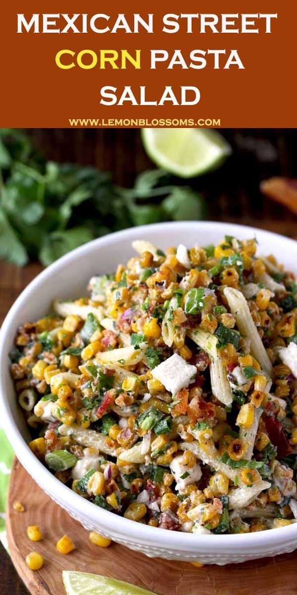 Mexican Street Corn Pasta Salad is loaded with flavor! Charred corn, pasta, crumbled bacon and Cotija cheese are tossed in a creamy chili-lime cilantro dressing. This Mexican Pasta Salad is a delicious and easy Mexican side dish sure to become a favorite!  via @lmnblossoms