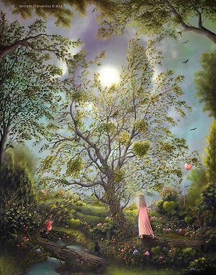 Philippe Fernandez Original Painting Fantasy Tree Landscape Hearts Fairy Tale