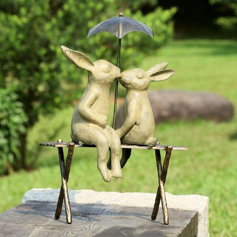 Bunny Lovers On Bench Garden Statues Outdoor Garden