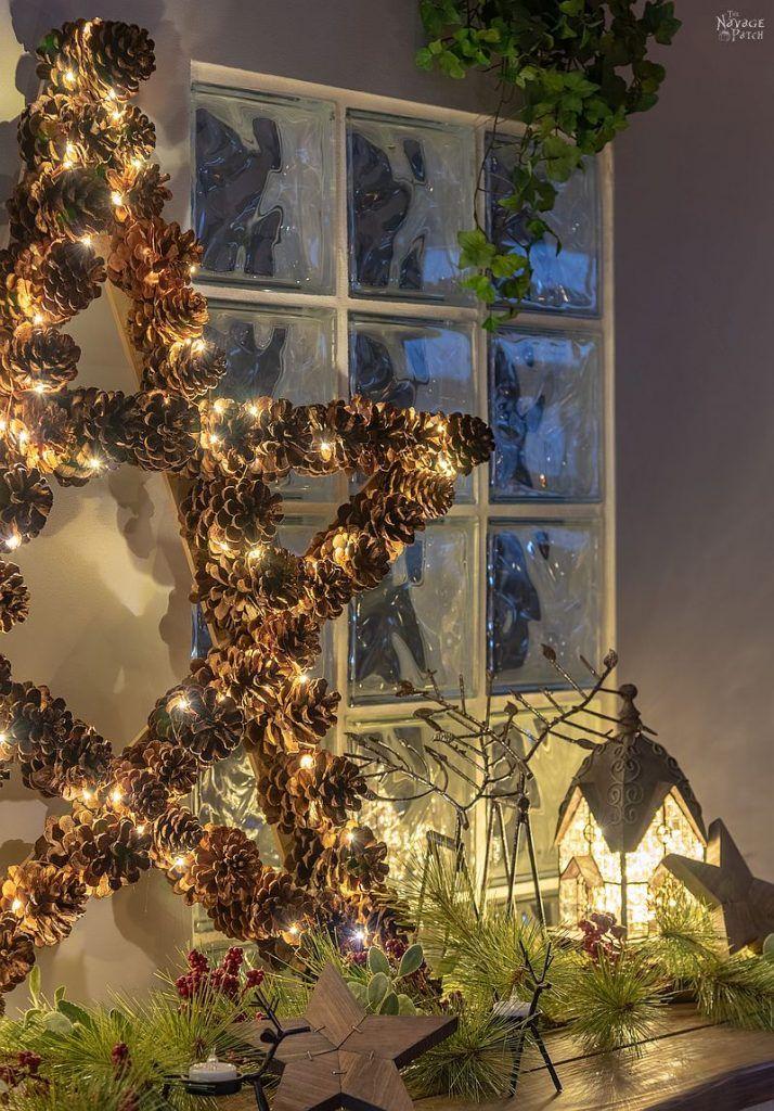 DIY Lighted Pine Cone Star Pine cone christmas