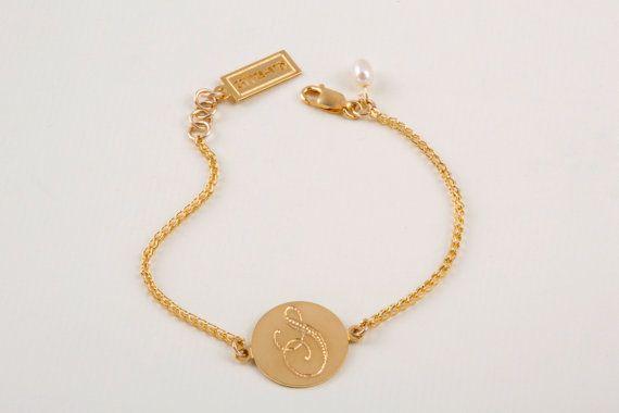 Rounded Monogram Bracelet Signet Bracelet Initial by SheRaJewelry, $80.00