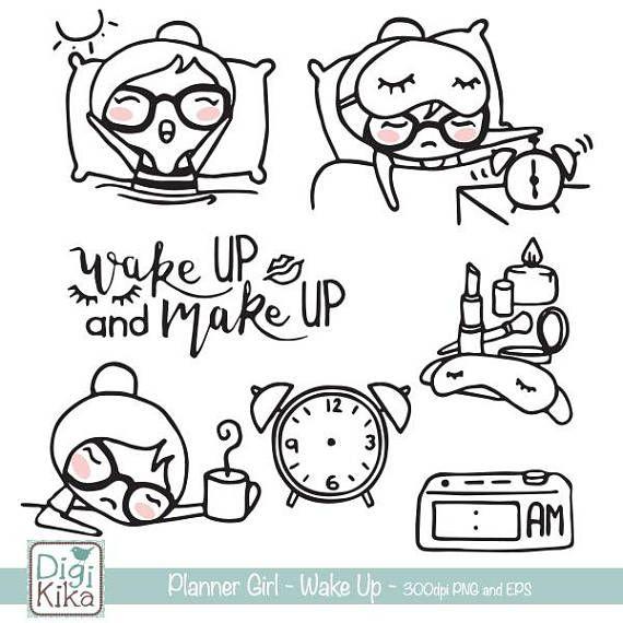 Planner Meisje Wake Up Stempel Clipart Planner Stickers