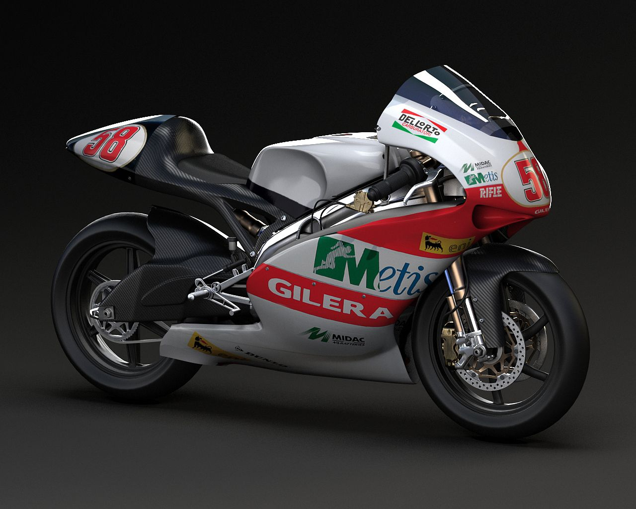 Gilera 250cc 2 stroke. Essentially a re-badged Aprilia RS250 (both companies are owned by the Piaggio group, along woth Moto Guzzi). Most famously raced by Marco Simoncelli (for more see boards: motogp- marco simoncelli tribute and motogp- moto2 and moto3 and motorcycle racing)