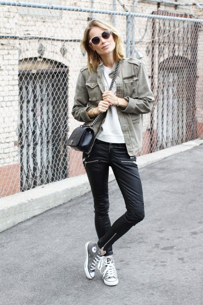 military style jacket, sneakers and leather pants outfit bmodish