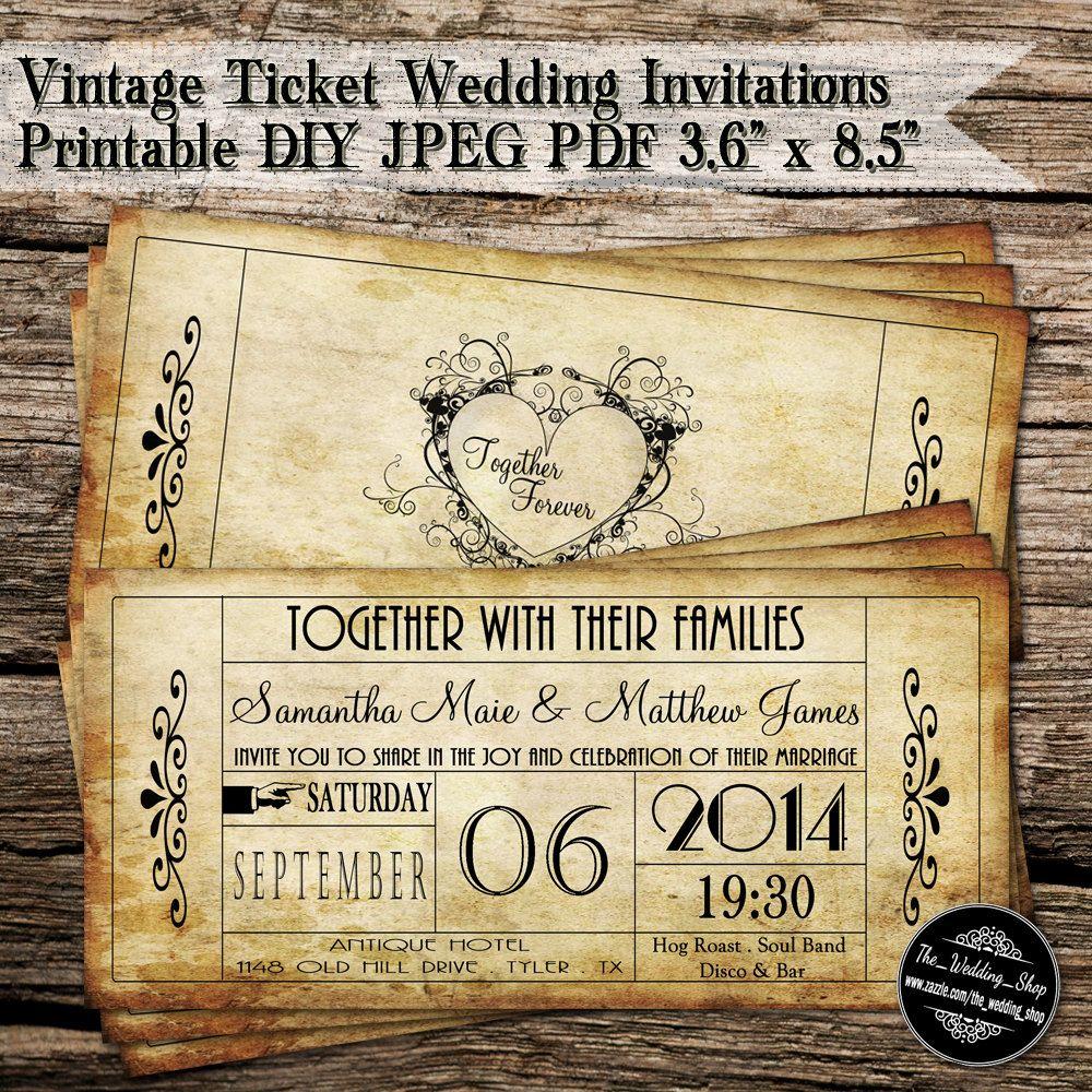 Vintage ticket wedding invitations printable diy by weddingshoptm vintage ticket wedding invitations printable diy by weddingshoptm 2000 monicamarmolfo Image collections