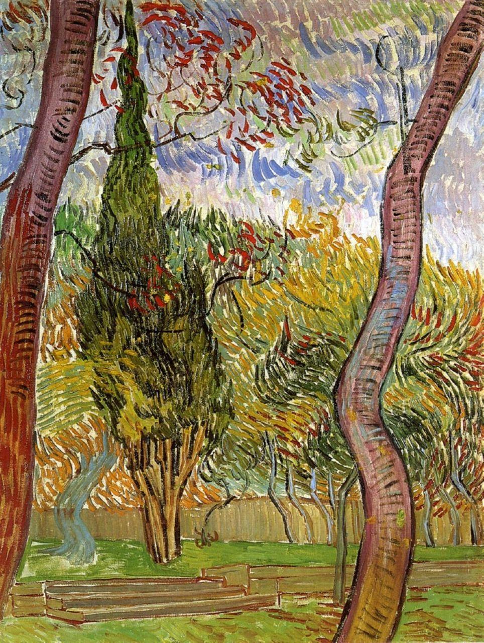 The Garden of Saint-Paul Hospital - Vincent van Gogh - 1889 - Place of Creation: Saint-Rémy, Provence, France