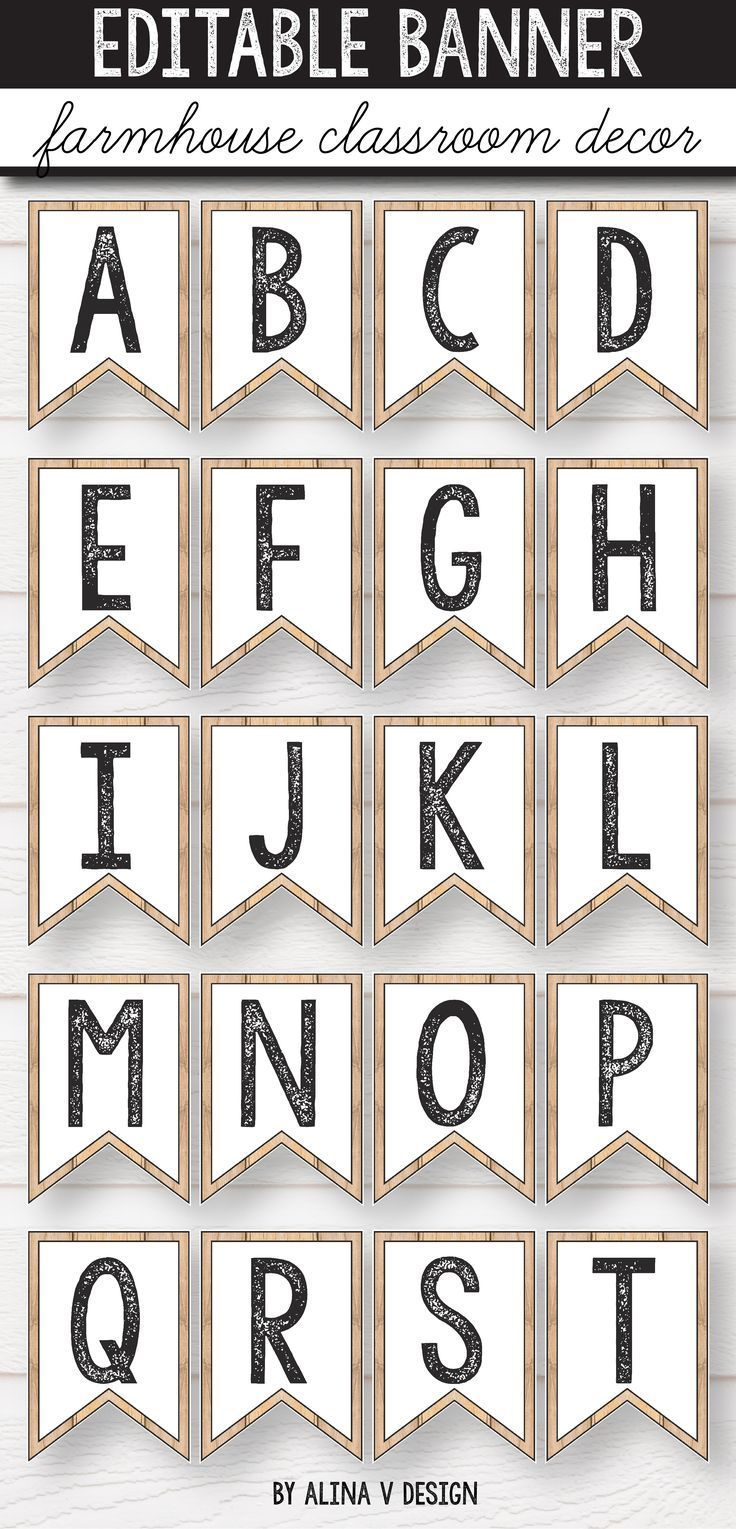 Editable Banner - Farmhouse Alphabet Bunting, Bulletin Board Letters #classroomdecor