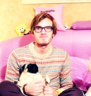 Pewdiepie and Maya :3 I love Pewdiepie :D he also got a new black pug named Edger XD