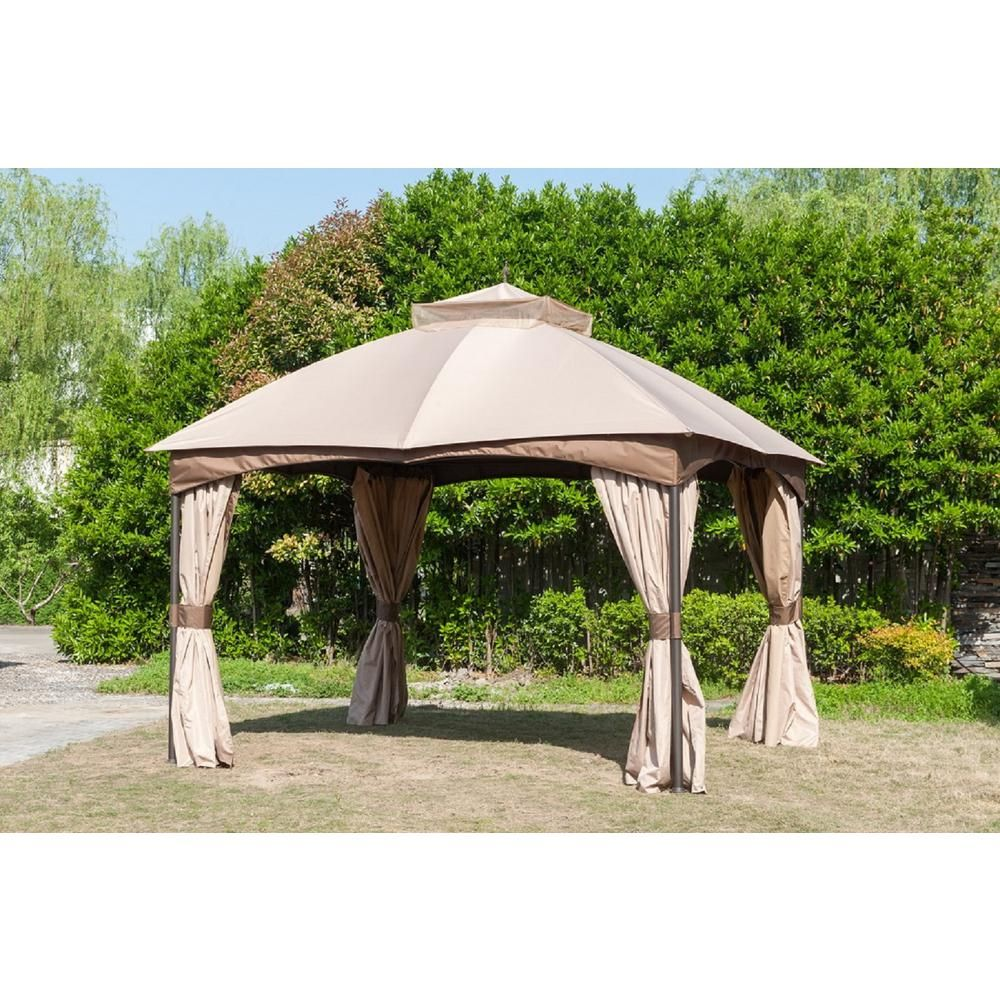 Hampton Bay 10 Ft X 12 Ft Turnberry Outdoor Patio Gazebo With Mosquito Netting And Private Curtain L Gz933pco L The Home Depot Patio Gazebo Portable Gazebo Gazebo