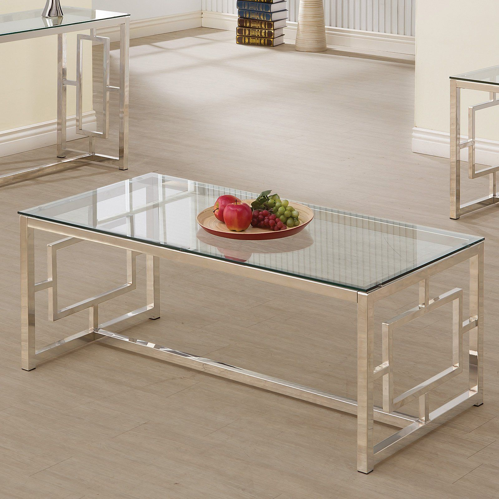 coaster furniture glass top coffee table satin nickel from