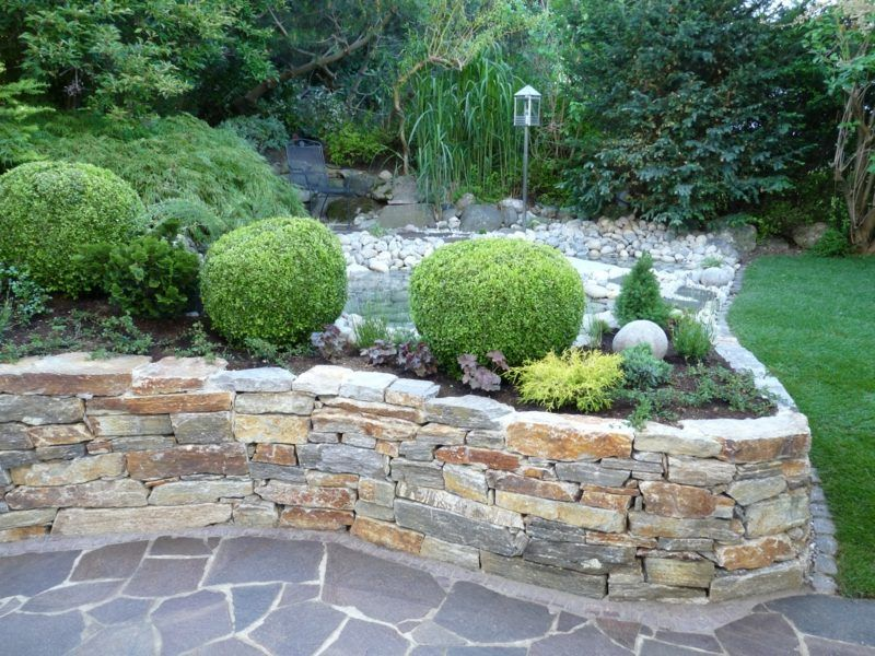 Steinmauer als Blickfang und Sichtschutz im Garten – 40 Ideen ...