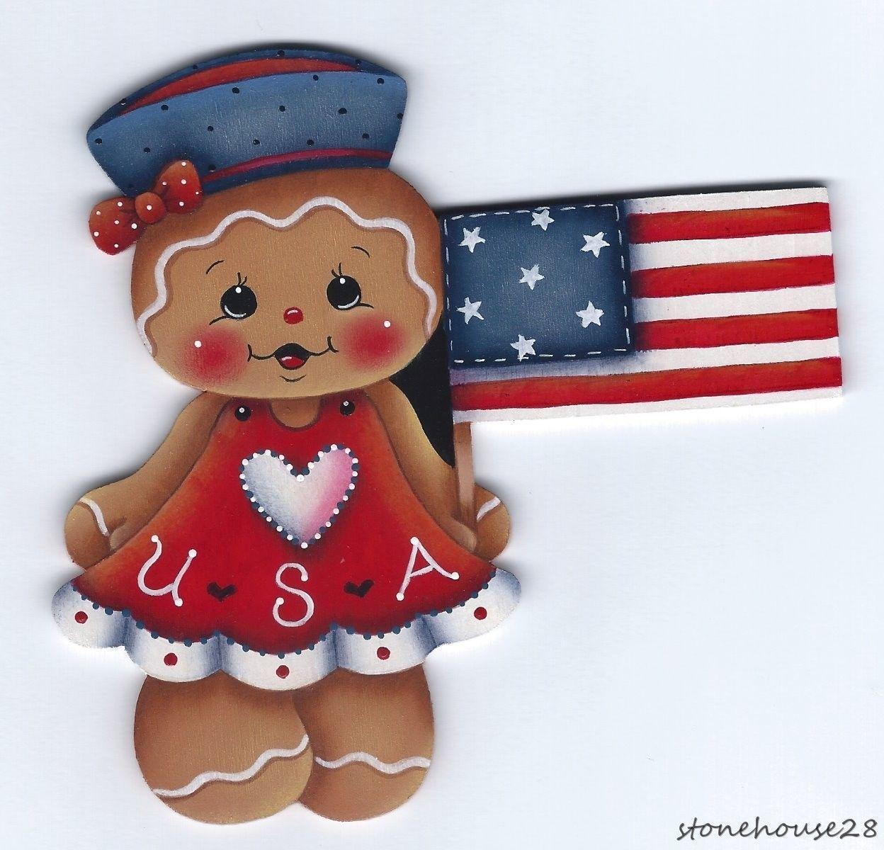 HP Gingerbread Patriotic Girl Fridge Magnet | eBay | Gingerbread ...