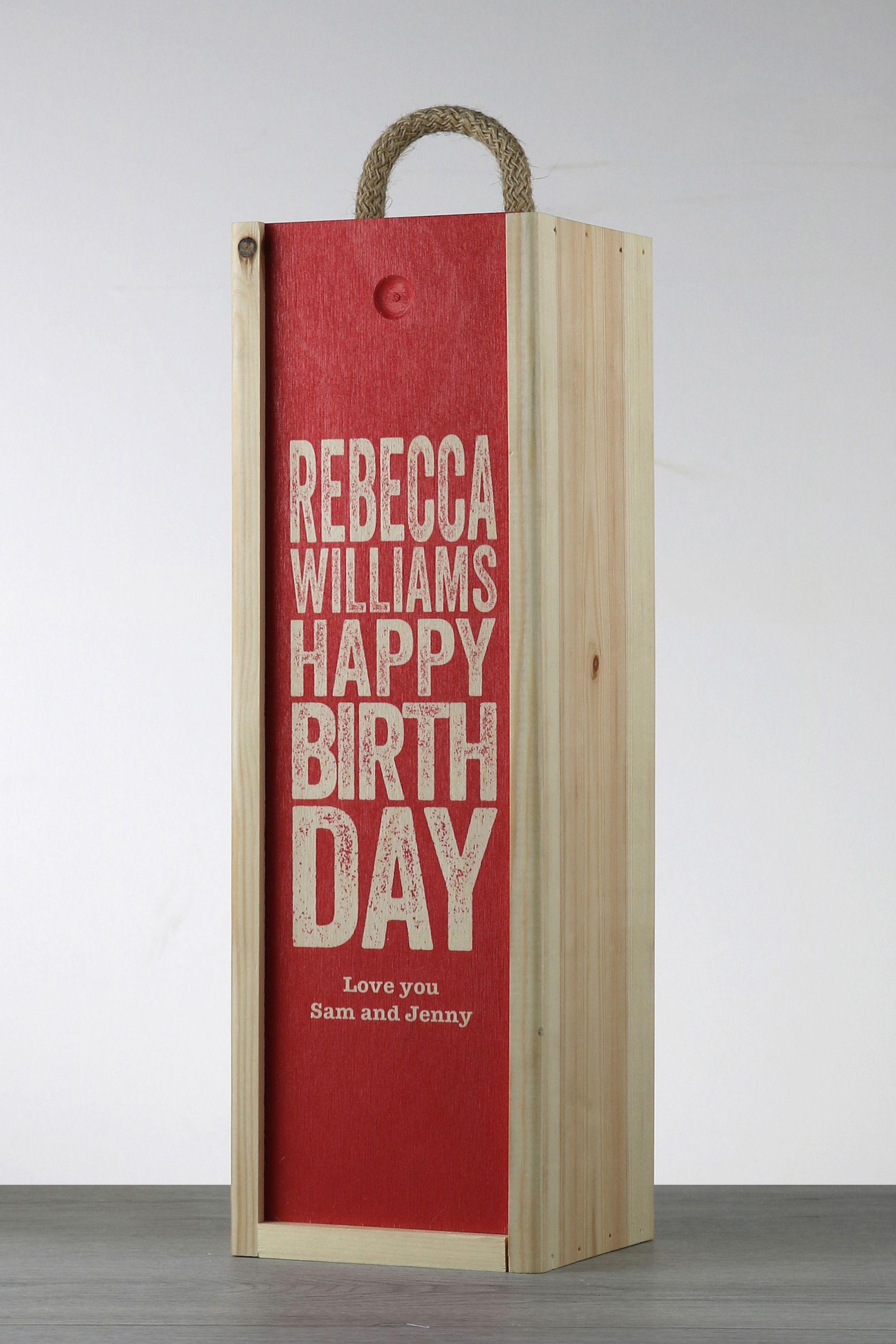 Personalised Happy Birthday Wood Wine Box By Lebonvin Korobka Dlya Butylok Yashiki Upakovka