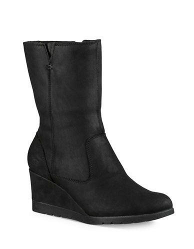 Ugg Mischa Lombard Leather Wedge Boots Women's Black 7.5
