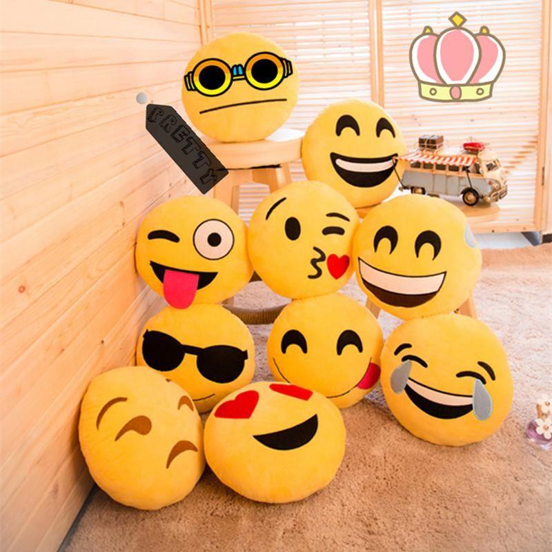 Yellow Round Emoji Pillow Smiley Emoticon Stuffed Plush Doll Hot Toys Soft Cute Cushion Pillow High Quality Emoji Pillows Emoji Cushions Plush Emoji