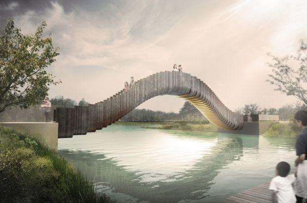 The Dynamically Designed Jiading Bridge, A #FutureProjects Award Entry By  Heatherwick Studio.