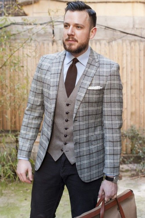Men's Grey Plaid Wool Blazer, Grey Waistcoat, Light Blue Dress ...