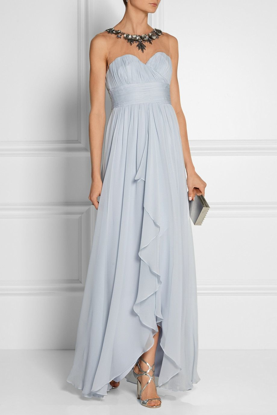 Notte by Marchesa embellished tulle-paneled silk-chiffon gown | The ...