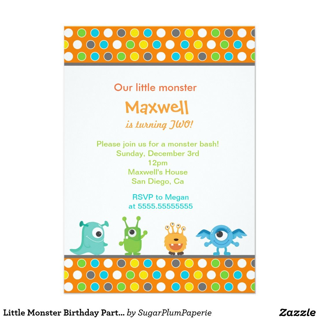Little Monster Birthday Party Invitations | Owen\'s First Birthday ...
