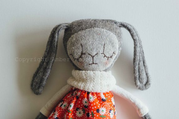 Wool Sock Bunny Rabbit Doll with removable skirt by amberevroom
