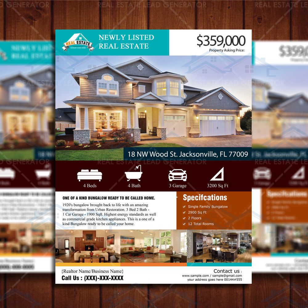Custom Flyer Design New Listed Realtor Flyer Real Estate Listing - Just listed flyer template