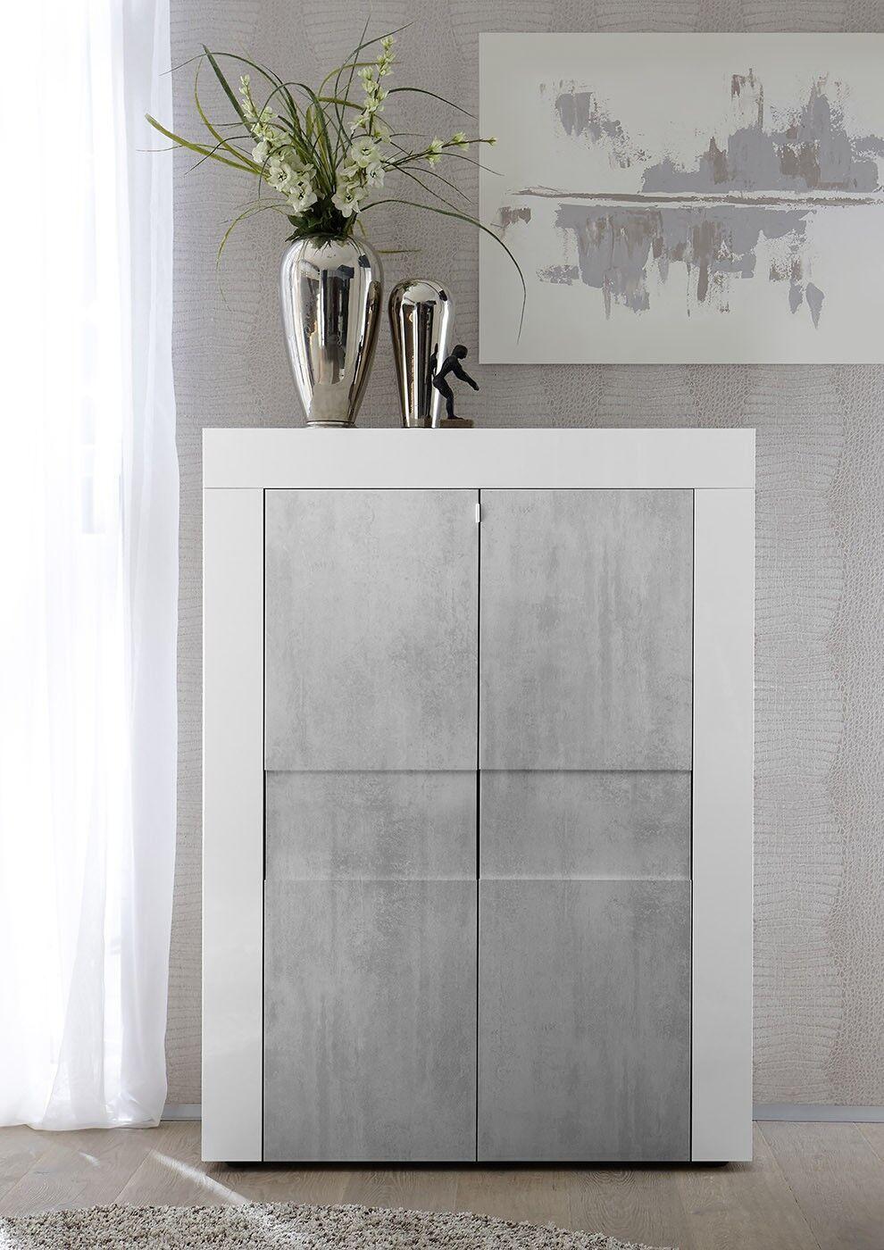 Photo of Fin, elegant e moderna madia di design, 2 ante alta, Bianca e Beton, correte …