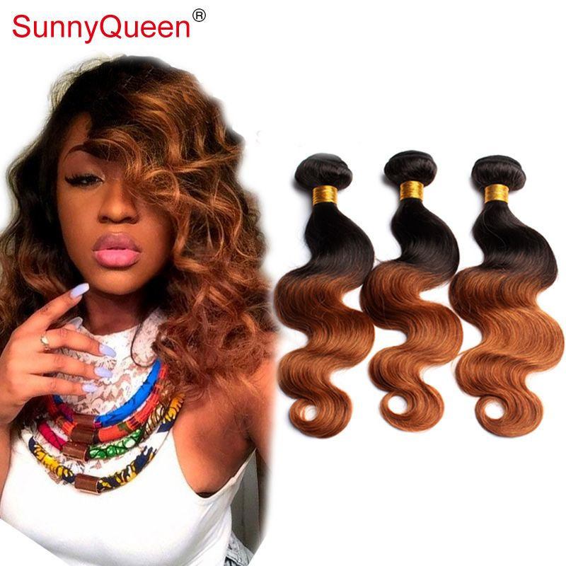 Ombre Brazilian Hair Weave Bundles 1b30 Sunny Queen Hair Products